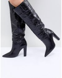 Mango - Knee High Leather Boot - Lyst