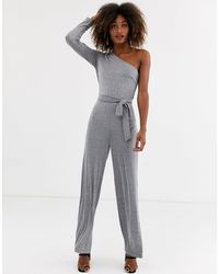 AX Paris One Shoulder Jupmsuit - Metallic
