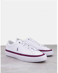 Polo Ralph Lauren Белые Кожаные Кроссовки С Контрастными Полосками И Фирменным Логотипом -белый
