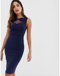 AX Paris - Кружевное Облегающее Платье -темно-синий - Lyst