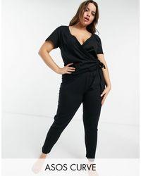 ASOS Asos Design Curve Mix & Match Jersey Pyjama legging - Black