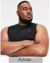 Threadbare Camiseta negra sin mangas deportiva - Negro