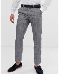 Original Penguin Original Slim Fit Grey Textured Over Check Suit Trouser - Gray