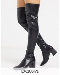 Monki Over The Knee Boots - Black