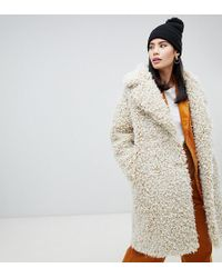 Monki - Double Breasted Teddy Coat In Off White - Lyst