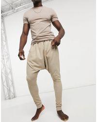 ASOS – Lounge – Schlafanzughose mit tiefem Schritt - Natur