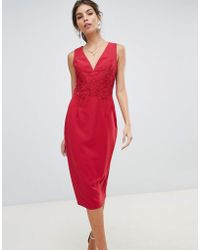 Little Mistress Midi Bodycon Dress With Floral Applique And Lace Back - Red