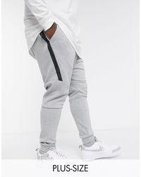 Nike Серые Флисовые Джоггеры С Манжетами Plus Tech-серый