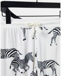 Chelsea Peers Pyjama avec top manches longues et pyjama à motif zèbre - Crème et noir - Blanc