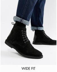 ASOS Desert Boots Van Zwart Suède Met Leren Details En Een Brede Pasvorm