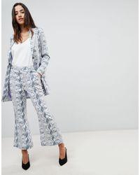 UNIQUE21 Unique 21 Cropped Flare Trouser - Grey