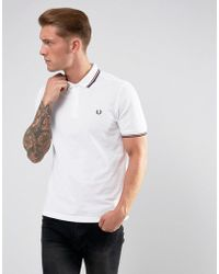 Fred Perry - Slim Fit Polo With Twin Tipped In White - Lyst