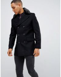 French Connection Double Breasted Wool Rich Pea Coat With Faux Fur Collar - Black