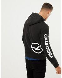 Hollister - Sleeve Print Logo Full Zip Hoodie In Black - Lyst
