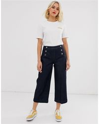 Oasis Button Detail Cropped Trousers - Black