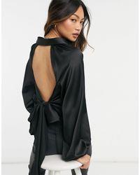 ASOS Черная Атласная Рубашка С Открытой Спиной - Черный