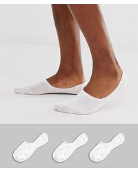 SELECTED 3 Pack Invisible Socks In White