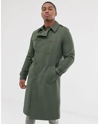ASOS Shower Resistant Longline Trench Coat With Belt - Green