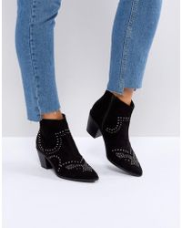 New Look | Studded Western Block Heel Ankle Boot | Lyst
