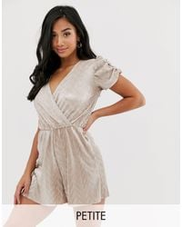 River Island Plisse Playsuit In Metallic - Multicolor