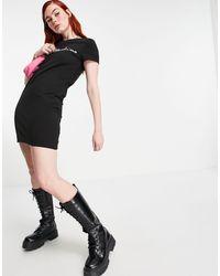 Love Moschino - Черное Платье-футболка С Логотипом Спереди -черный - Lyst