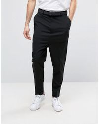 ASOS - Drop Crotch Pants In Black - Lyst