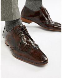 Jeffery West - Escobar Croc Brogue Shoes In Brown - Lyst