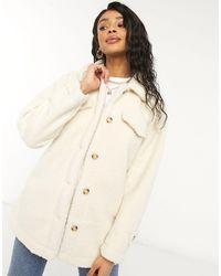 Threadbare – kaila – jacke im hemden-stil aus teddyfell - Natur