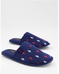 Polo Ralph Lauren Темно-синие Слиперы Без Задника С Красным И Белым Принтом Логотипа Summit Scuff-темно-синий