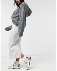 New Look Ribbed Midi Skirt - Grey