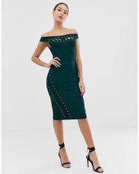 Lipsy - Vestito midi a fascia verde con laccetti - Lyst
