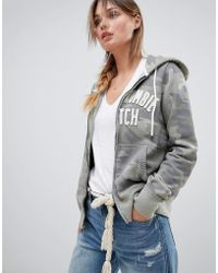 Abercrombie & Fitch - Authentic Logo Zip Through Hoodie In Camo - Lyst