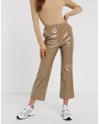 Weekday Patent Flared Trousers - Natural