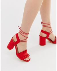 Truffle Collection - Ruffle Tie Leg Heeled Sandals - Lyst