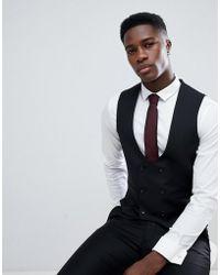 ASOS - Skinny Suit Vest In Black 100% Wool - Lyst