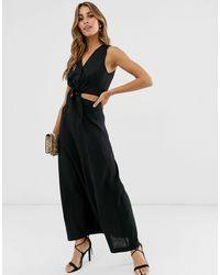 Warehouse – es Midi-Leinenkleid mit Zierausschnitt - Schwarz