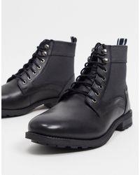 Original Penguin Lace Up Canvas Ankle Boots - Black