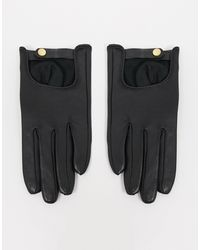 ASOS Leather Plain Gloves With Touch Screen - Black