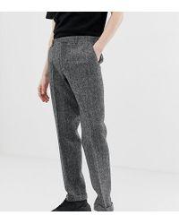 Noak Slim Fit Harris Tweed Suit Trousers In Grey - Gray