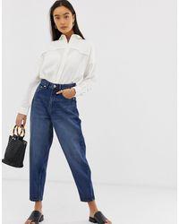 ASOS Boyfriend jeans blu scuro lavaggio medio con gamba a palloncino