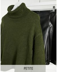 New Look Chunky Knitted Roll Neck Sweater - Green