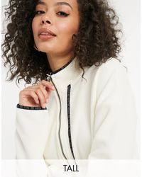 Noisy May Fleece With Contrast Trims - White