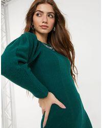 TOPSHOP Бирюзовое Платье Макси В Рубчик Со Вставками -зеленый Цвет