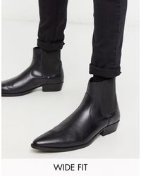 ASOS Wide Fit Cuban Heel Western Vegan Chelsea Boots - Black