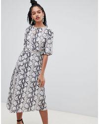 Miss Selfridge Midi Dress With Metal Trim - Grey