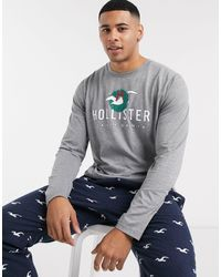 Hollister Lounge Gift Set Icon Cuffed joggers & Logo Long Sleeve Top - Blue