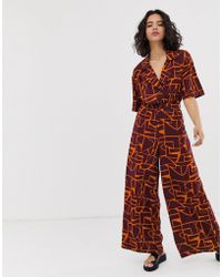 Native Youth Relaxed Jumpsuit In Abstract Print - Multicolour