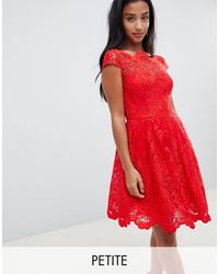 Chi Chi London Premium Lace Midi Prom Dress - Red