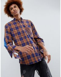 D-ANTIDOTE Oversized Check Shirt With Sleeve Print - Brown
