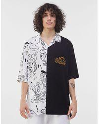 Bershka Белая Свободная Рубашка Комбинированного Дизайна С Принтом Флинтстоунов -белый